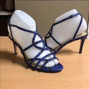 a73192369c4f Via Spiga Shoes - Via Spiga blue snakeskin sandal Heels 7.5